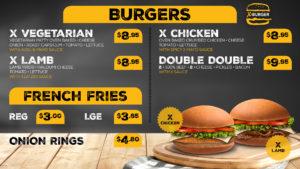 x burgers menu