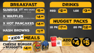 Breakfast, Drinks, Nuggets Packs and Kids Meals